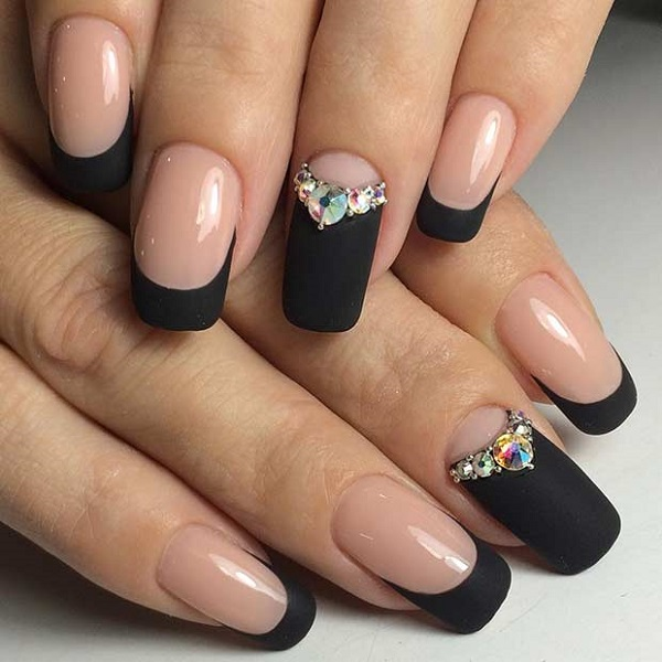50 black nail art designs nenuno creative glittery black matte nail art you can try this seamless geometrical v shaped nail prinsesfo Choice Image