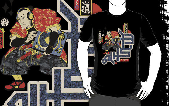 'TURNTABLE SAMURAI' T-Shirt by Kris Miklos