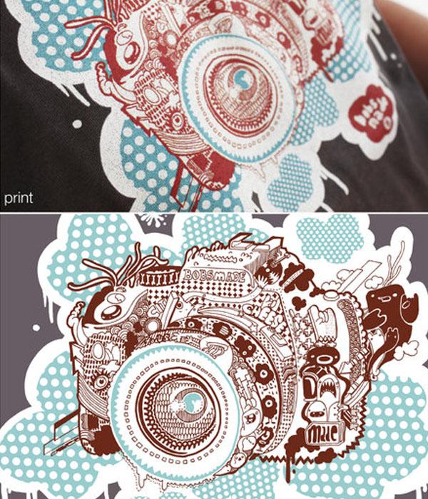 Camera tee printed by Bobsmade