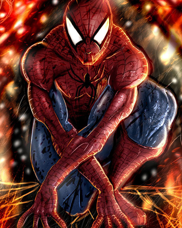battle damaged spiderman by cantas78