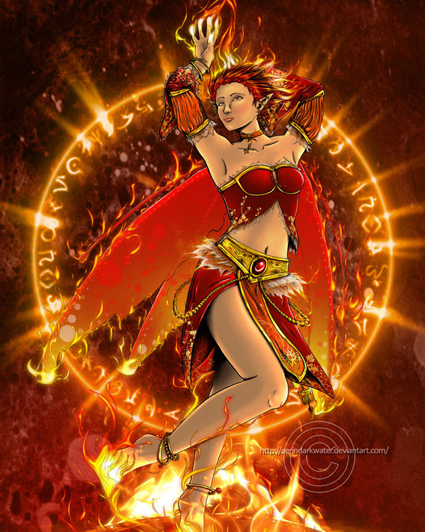 Fire Eleimental Fairy_color by Aerindarkwater
