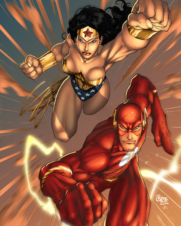 wonder woman and flash by deffectx & Roger Cruz