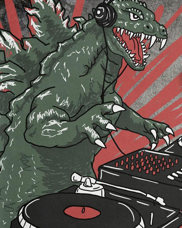 Godzilla DJ Shirt by bearcatstudio