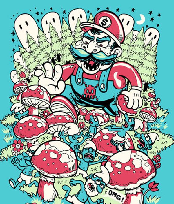 Mario in Smurf Land by Sassá and Lucas de Alcantara