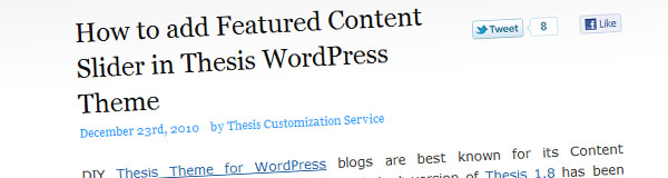 How to add Featured Content Slider in Thesis WordPress Theme