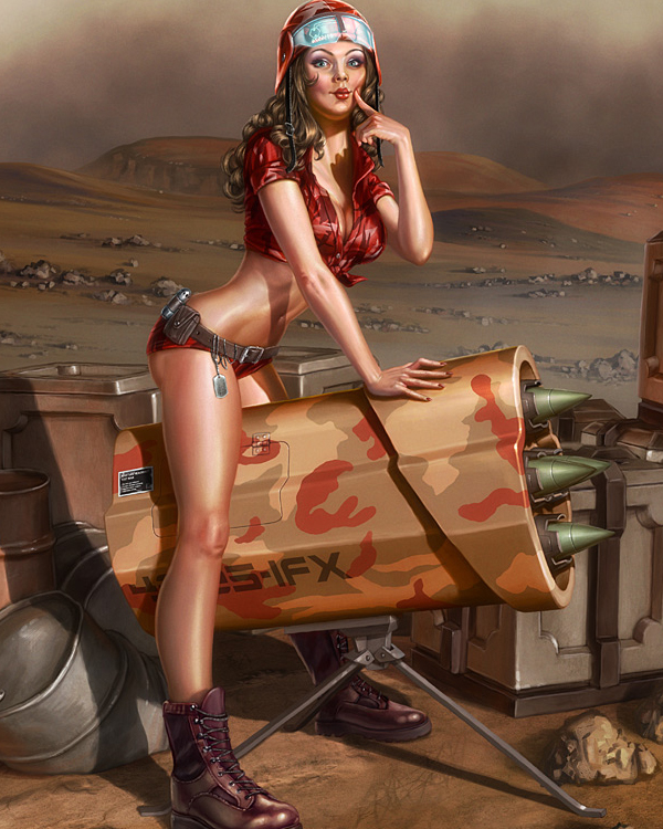 Martian pinup, ImagineFX cover by henning