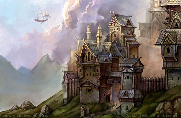 Fantasy architecture illustrations by snow skadi nenuno for Architecture fantastique
