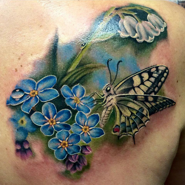 50 Butterfly tattoos with flowers for women - nenuno creative