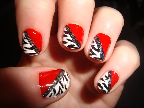 Red White And Black Nail Art Designs