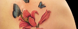 50 Butterfly tattoos with flowers for women
