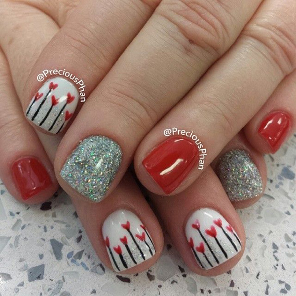 Cute red with glitter and heart nail