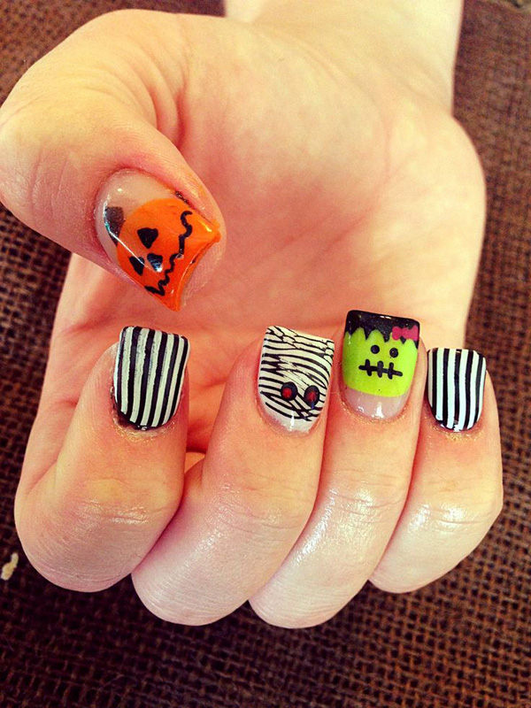 65 halloween nail art ideas nenuno creative adorable looking pumpkin and stripes halloween nail art design you can also paint on other prinsesfo Image collections