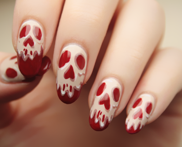 65 halloween nail art ideas nenuno creative skeleton faces on bloody red nails halloween nail art design spice up your costume by prinsesfo Gallery