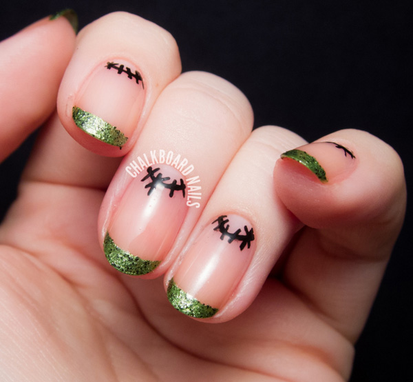 65 halloween nail art ideas nenuno creative simple and cute halloween nail art have classy green glitter french tips while drawing bold prinsesfo Image collections