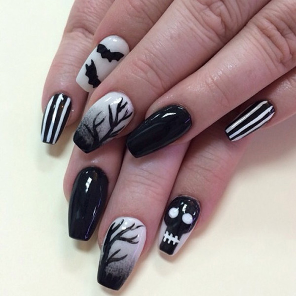 65 halloween nail art ideas nenuno creative black and white themed halloween nail art technique play around with smoky tree silhouettes prinsesfo Image collections