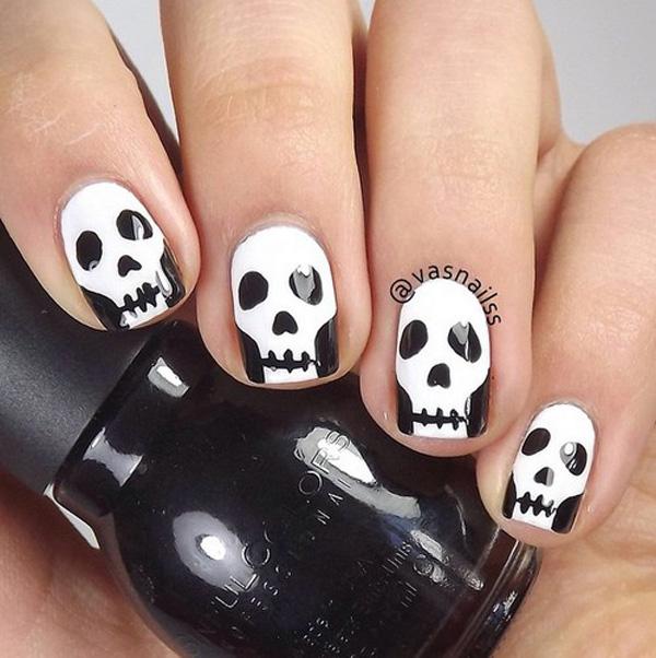 Halloween nail art-skull-29