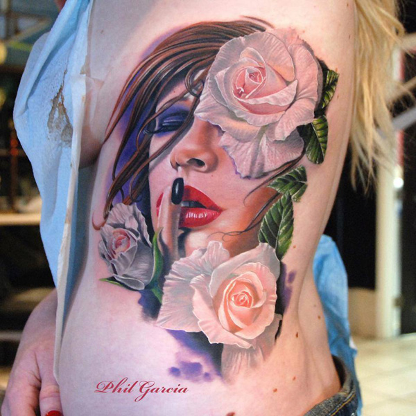 Portrait with rose tattoo
