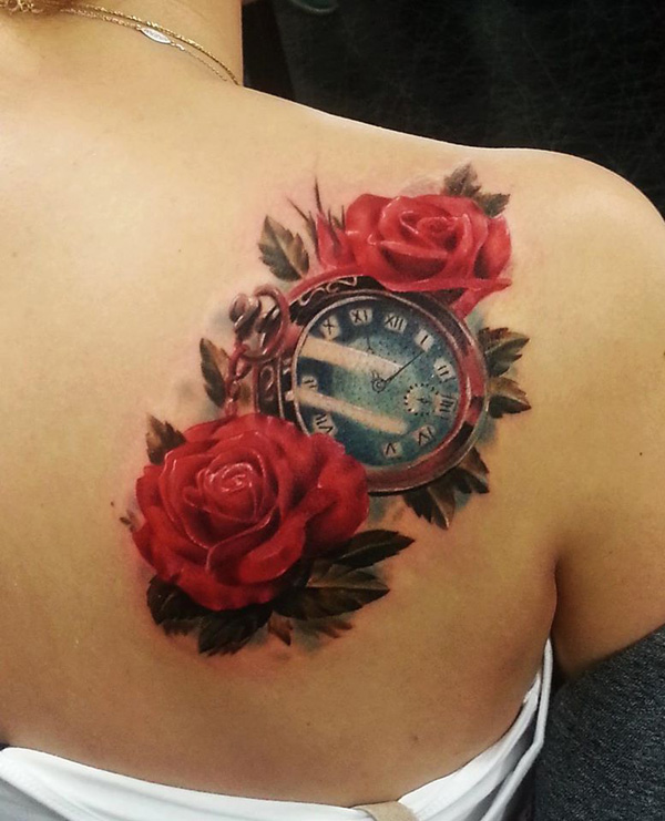 Realistic red rose with  watch tattoo