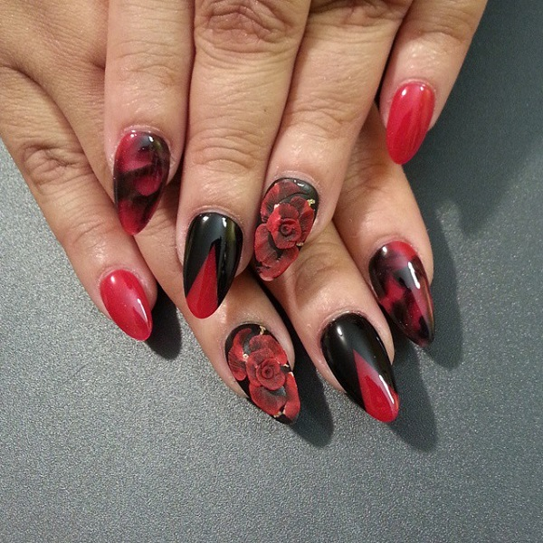 55 hottest red nail art ideas nenuno creative red and black with flower nail art 55 hottest red nail art ideas 3 prinsesfo Images