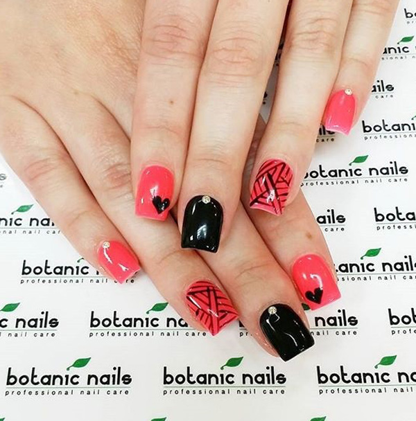 Red And Black With Heart Nail Art