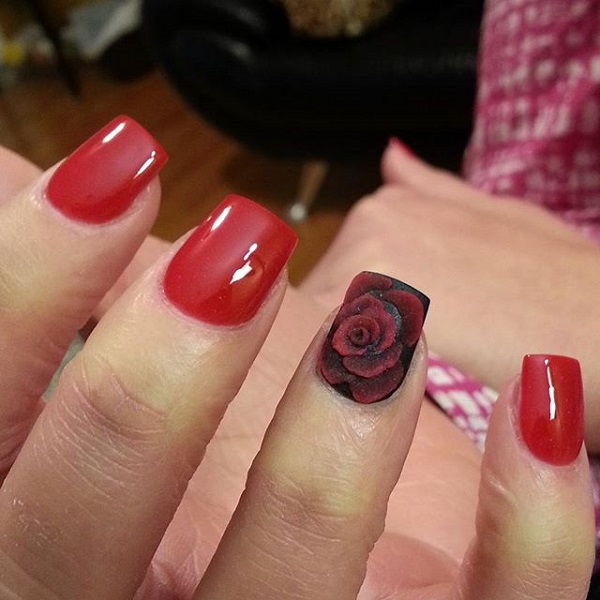 Red and flower nail
