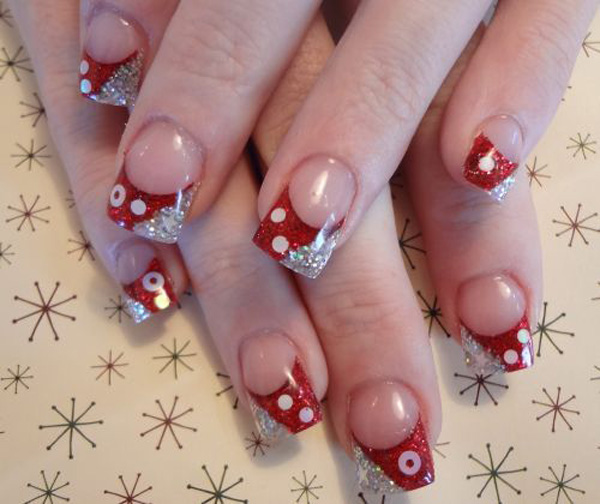 Red with glitter french nail art