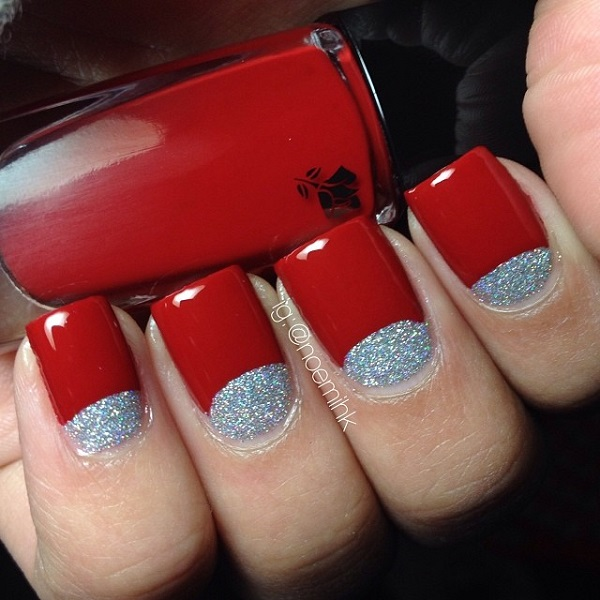 Red with glitter half moon nail art
