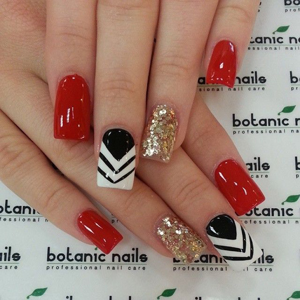 Red with glitter nail art