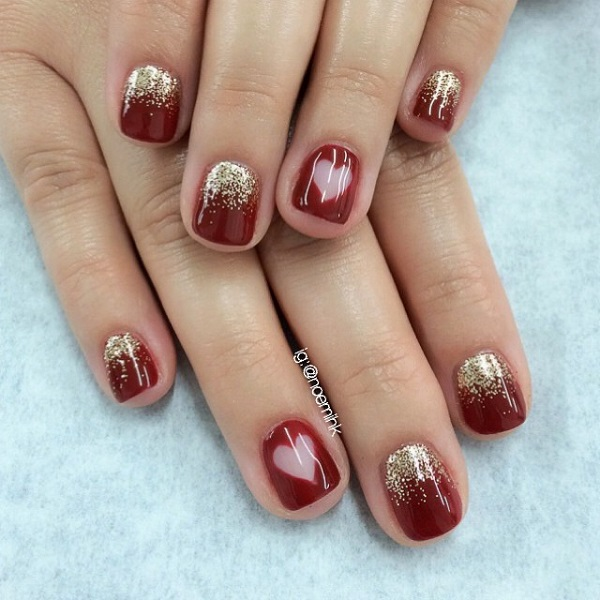 Red with heart nail