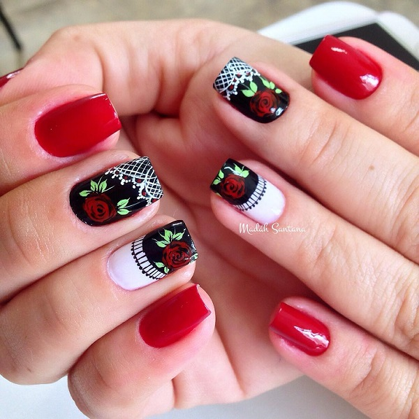 Red with lace nail art