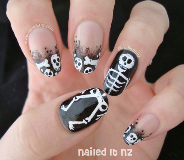 Skull nail art for halloween -26