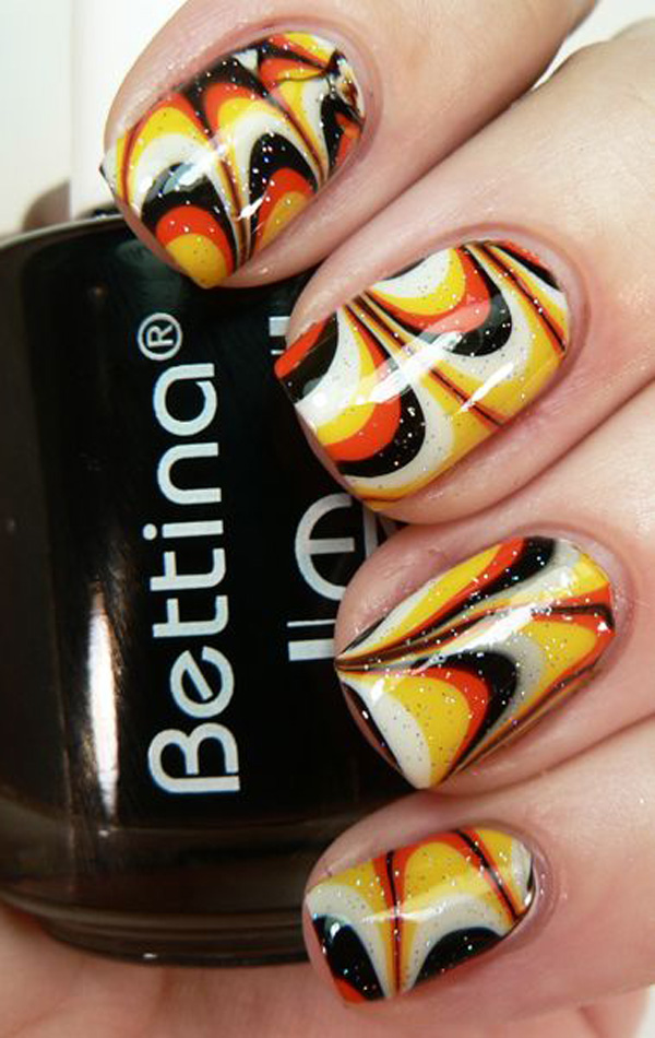 Watermarbled Halloween Nails