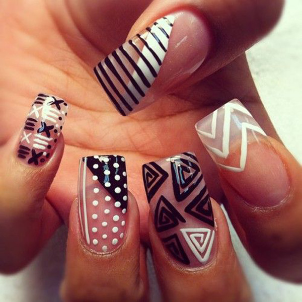 black and white nail art-36