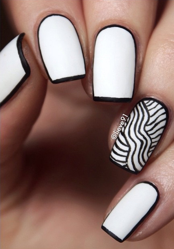 black and white nail art-41