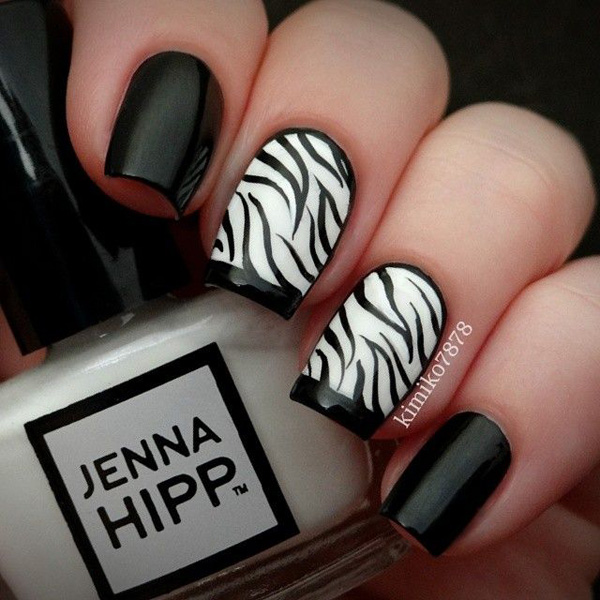 black and white nail art-42