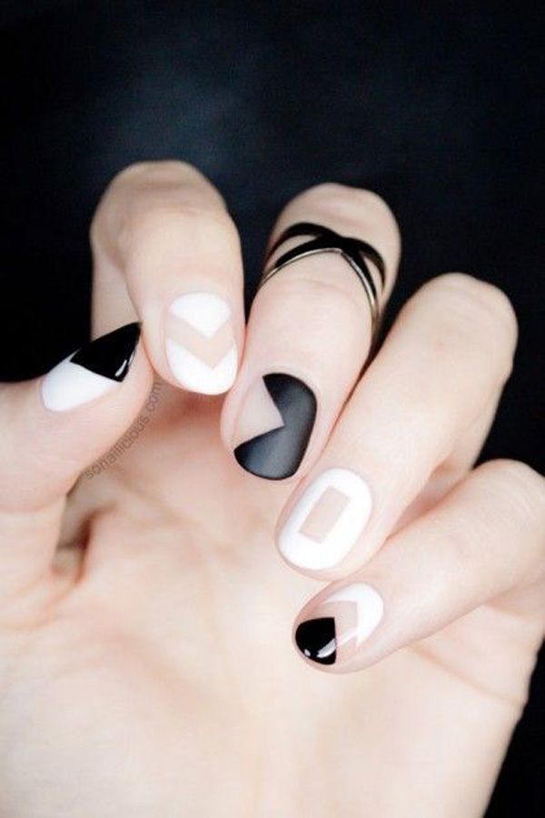 black and white nail art-44