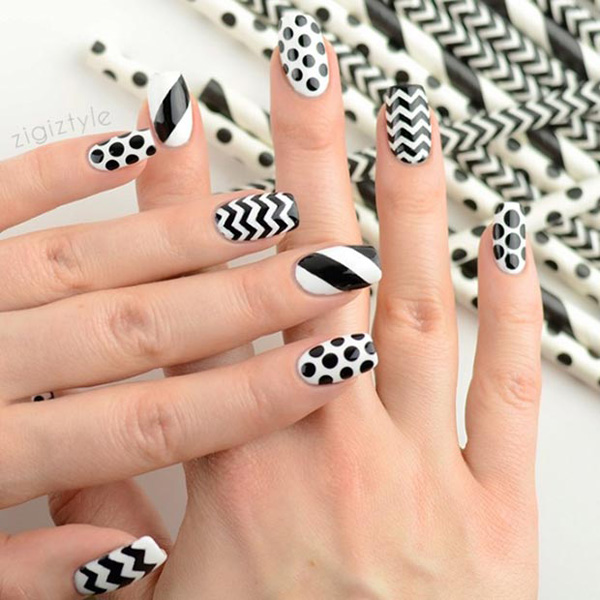 black and white nail art-50