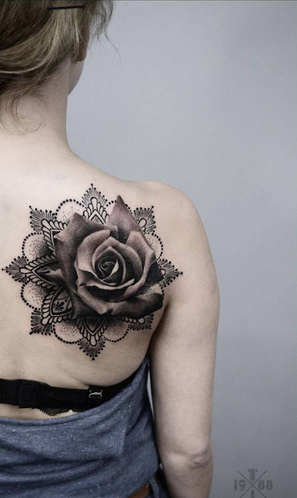 mandala with rose tattoo