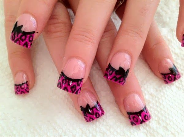 pink french nail art 63