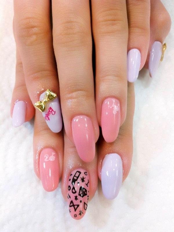 Pink and white nail art
