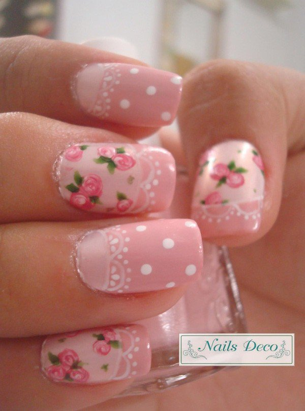 Pink nails with vintage rose flowers and polka dots