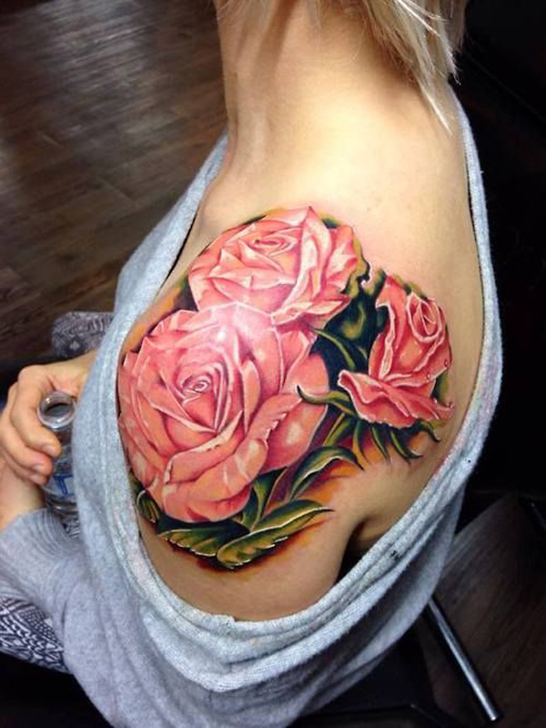 pink rose shouder tattoo