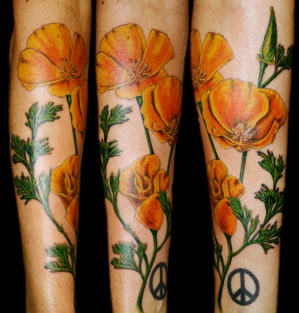 The vibrant yellow poppy sleeve tattoo