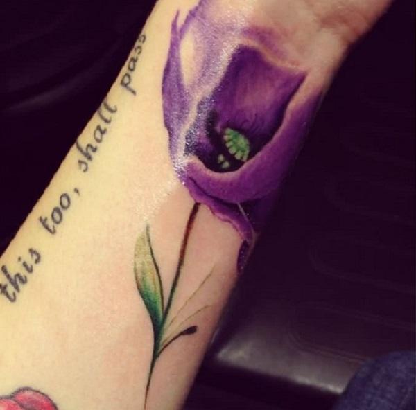 Purple poppy flower wrist tattoo