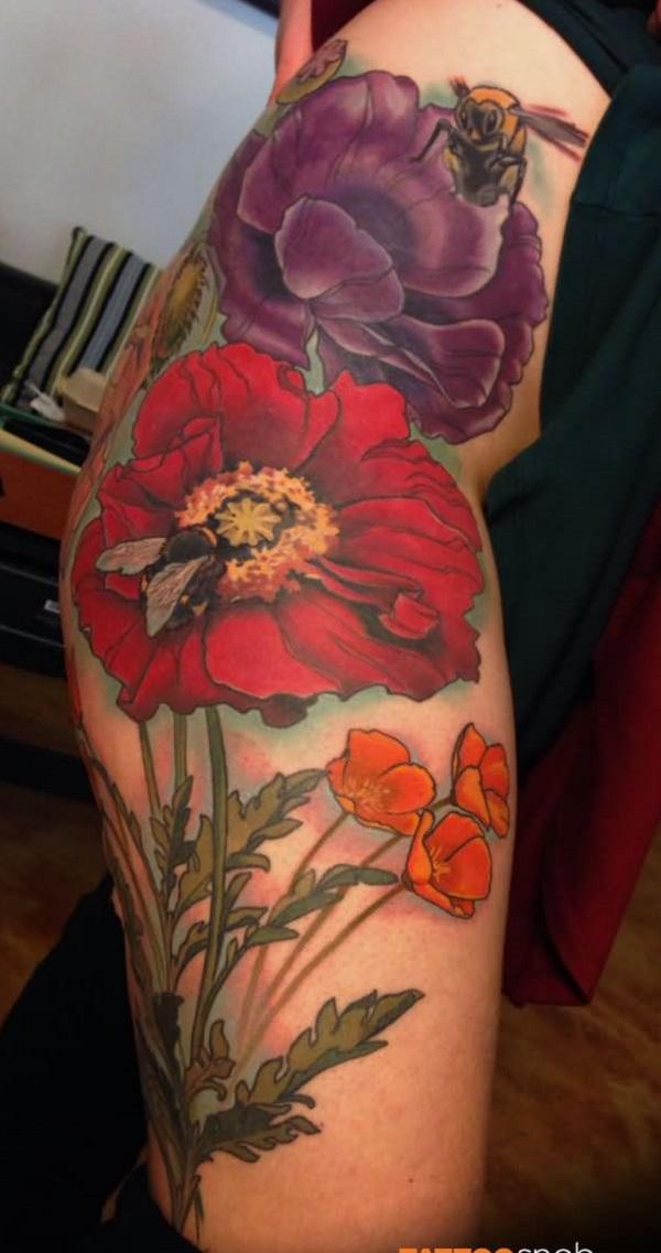 Large poppy flower tattoo for women