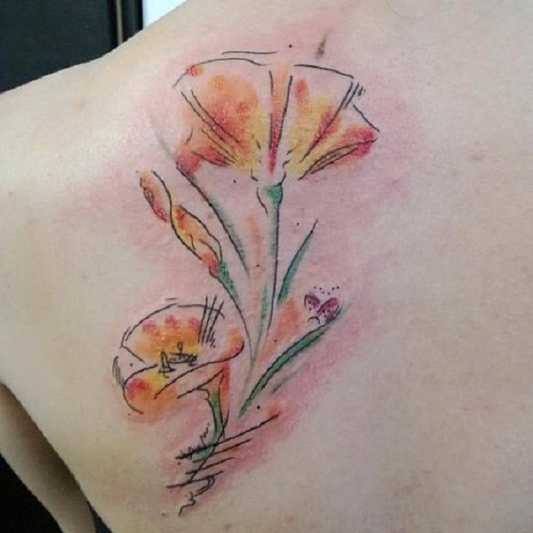 Watercolor poppy flower back tattoo for women