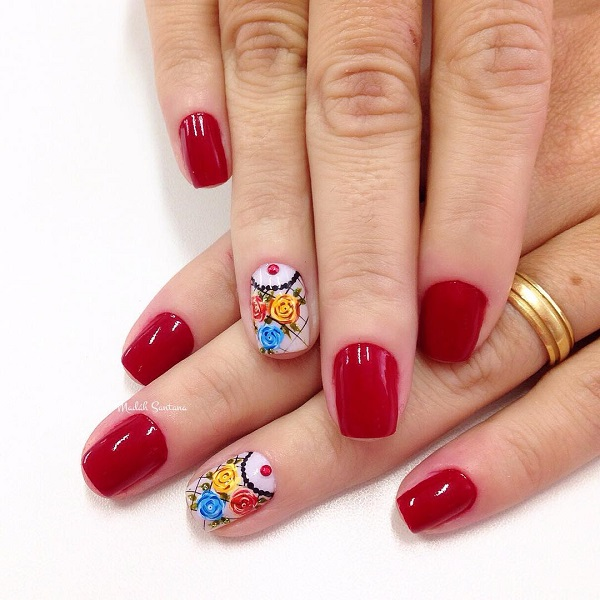 red and flower nail art