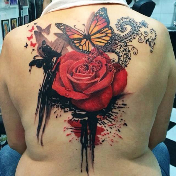 rose with butterfly back tattoo
