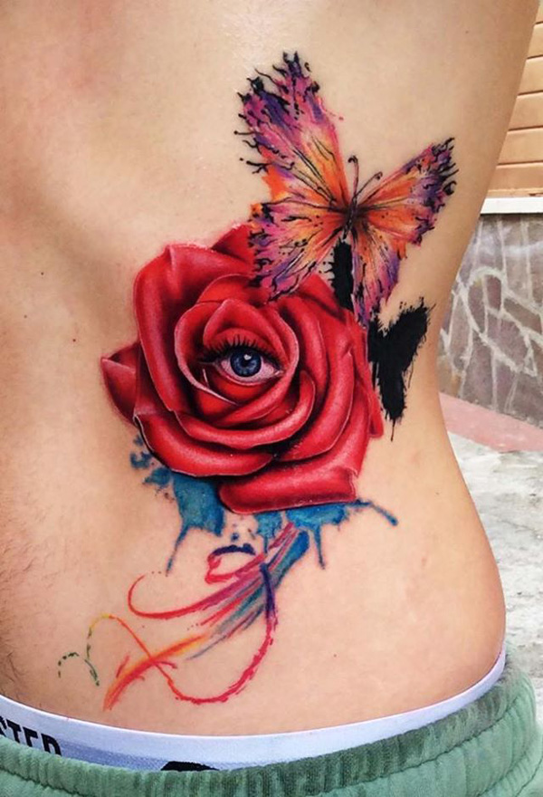 rose with eye and butterfly tattoo