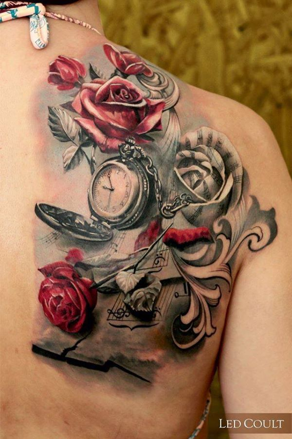 rose with watch tattoo for women
